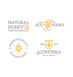 set of retro vintage honey and shield with a bee vector image vector image