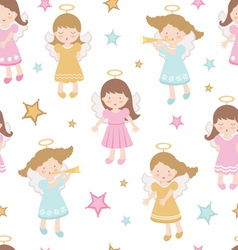 Angels seamless pattern vector image vector image