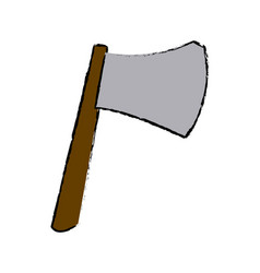 ax with wooden handle steel weapon vector image vector image