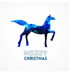 Blue geometric horse silhouette vector image