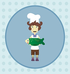 Cook with green fish vector image vector image