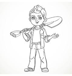 Cute boy farmer in jeans holding a shovel on his vector