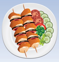 grilled chicken and vegetables vector image vector image