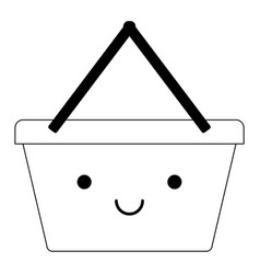 kawaii shopping basket in black silhouette vector image vector image