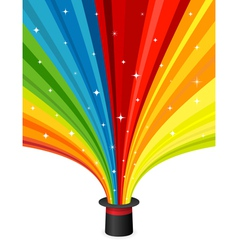 Magic hat with rainbow rays vector image vector image