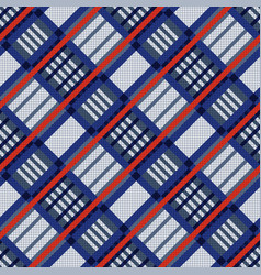 tartan seamless diagonal texture in blue red and vector image vector image