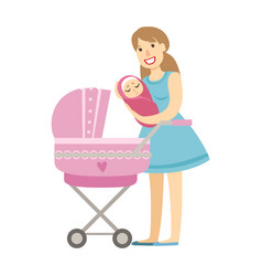 young mom putting baby in the stroller vector image vector image