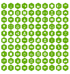 100 tea time food icons hexagon green vector
