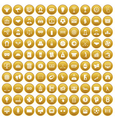 100 totalizator icons set gold vector image