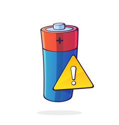 alkaline electric battery with yellow warning vector image