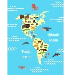 America animals world map for children vector