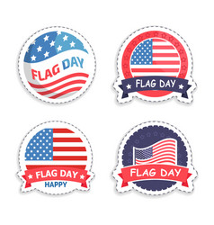 american flag day promotional round stickers set vector image