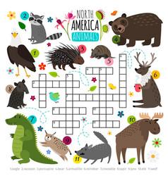 animals crossword kids words brainteaser vector image