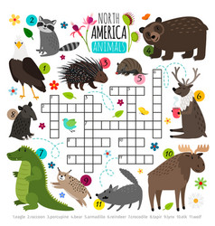 Animals crossword kids words brainteaser with vector
