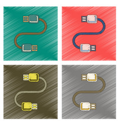 Assembly flat shading style icon usb cable vector