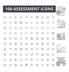 Assessment line icons signs set outline vector