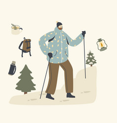 Backpacker with sticks and backpack climbing vector