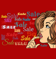 beautiful woman in sales background vector image