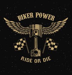Biker powerpiston with wings on dark background vector