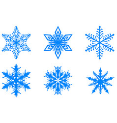 blue winter christmas set snowflakes isolated on vector image