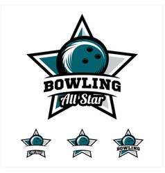 Bowling ball all star badge logo vector