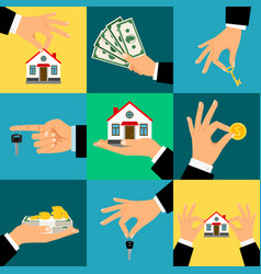 Buy house hands hand holds vector
