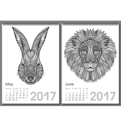 Calendar 2017 Beautiful ornate hand drawn animals vector image