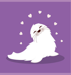 card with cute seal valentine card vector image
