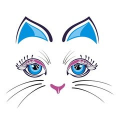 Cat with blue ears vector