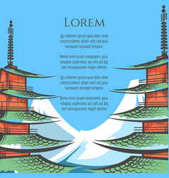chureito pagoda and mountain poster vector image