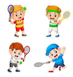 collection of the boy action doing the tennis vector image