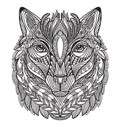 coloring wolf vector image