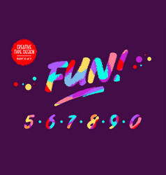 Colourful numbers kids font in cartoon vector