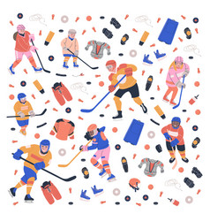 Concept with young ice hockey players vector