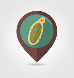 Cucumber flat pin map icon vegetable vector