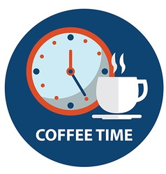Cup coffee with clock coffee time coffee break vector