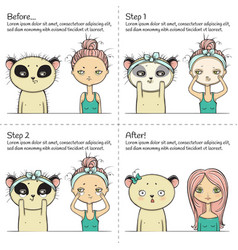 cute facial treatment instruction girl and panda vector image