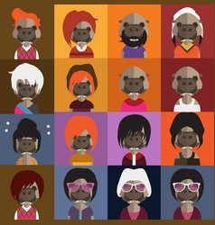 Cute hippo avatars vector