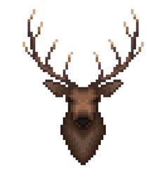 deer portrait in pixel art style vector image vector image