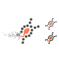 Disappearing dotted halftone dna replication icon vector