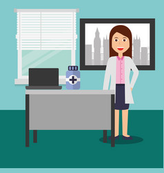 Doctor female in consulting room desk laptop vector