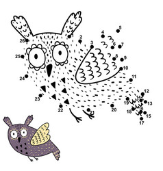 Dot to dot game for kids with cute flying owl vector