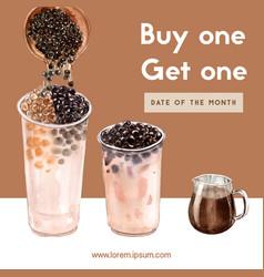 Double brown sugar bubble milk tea set promotion vector