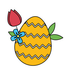 easter egg painted with rose vector image