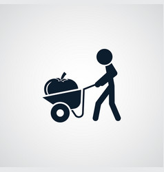 Farmer with wheelbarrow cart icon simple vector