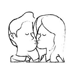 Figure cute couple kissing a romantic scene vector