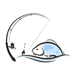 fish on the wave and fishing rod vector image