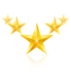 Five gold stars in the shape of wedge vector
