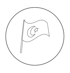 Flag of turkey icon in outline style isolated on vector