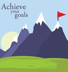Flag on mountain vector image
